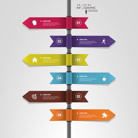 flecha direccion: Infografía plantilla de punteros multidireccionales en un poste indicador