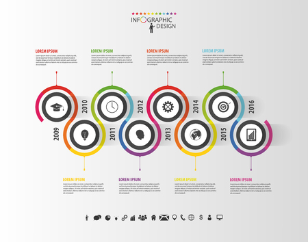 Abstract timeline infographic template. Vector illustration. Çizim