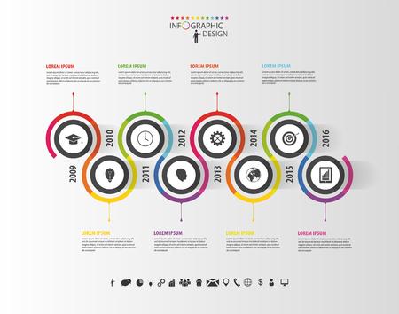 estadisticas: Resumen l�nea de tiempo plantilla infograf�a. Ilustraci�n del vector. Vectores