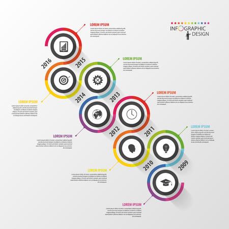 Abstract timeline infographic template. Vector illustration. Иллюстрация