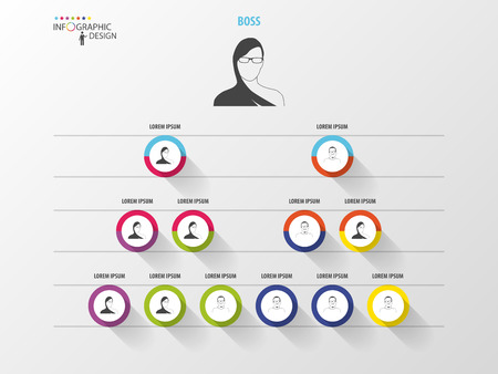 Business structure. Organisation chart. Infographic design. Vector Illustration