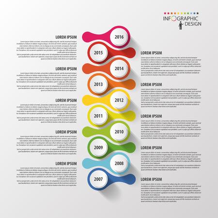 タイムラインのインフォ グラフィックのデザイン テンプレート。ベクトル