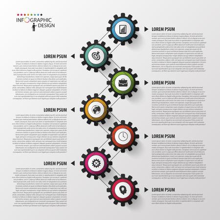 Astratto linea temporale modello infografica. Illustrazione vettoriale. Archivio Fotografico - 45344365