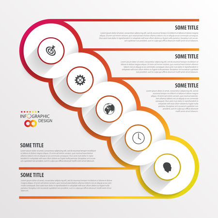 Abstract timeline infographic template. Vector illustration. Vettoriali