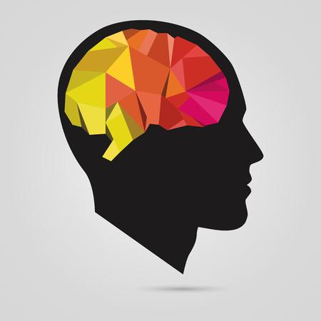 cerebro humano: la silueta de la cabeza de un hombre con el cerebro abstracto. Vector
