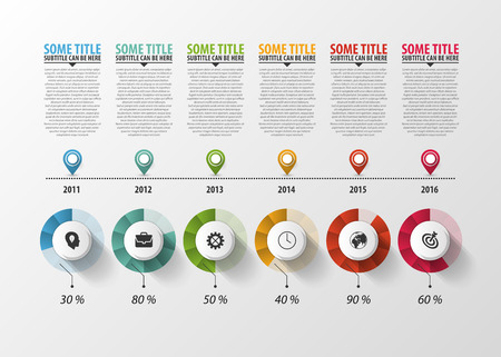 decade: Timeline Infographic with pointers and text. Vector