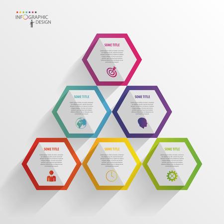 抽象的な現代的な六角形のインフォ グラフィック。3 d デジタル イラストレーション