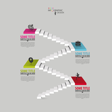 Infographics business staircase concept, Vector illustration Çizim