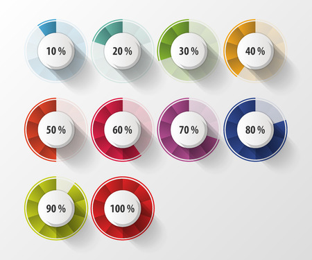 share prices: Percentage Diagram Presentation Design Elements. Vector illustration