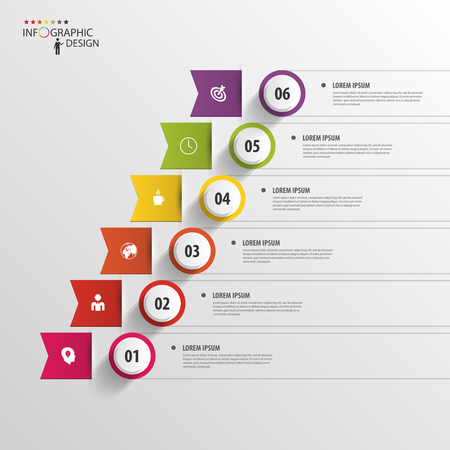 Modern business step by step options infographics. Vector Çizim