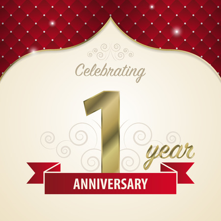 1st birthday: 1 year anniversary celebration golden style. Vector Illustration