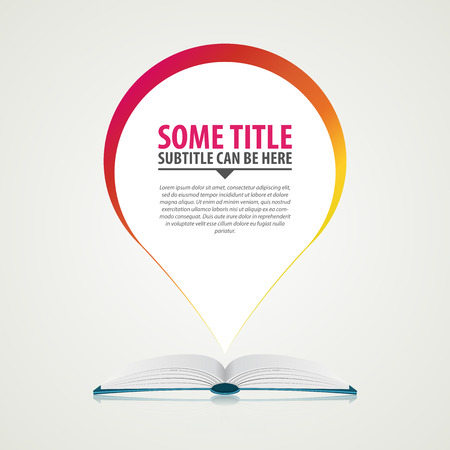 magazine stack: Open book background with speech bubble. Vector