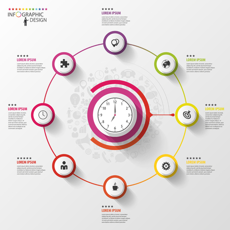 インフォ グラフィック。ビジネス コンセプトです。アイコンのカラフルなサークル。ベクトル