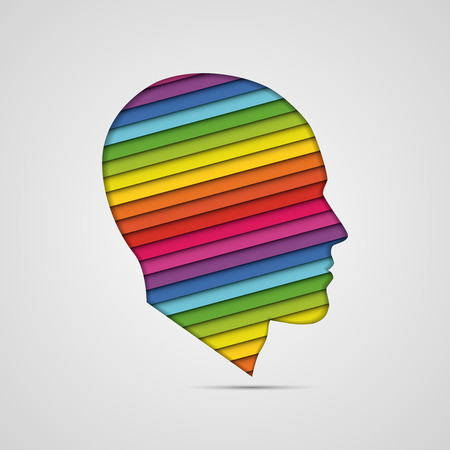 directly above: human head thinking. making from multicolor Illustration