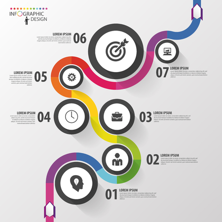 infographic: Abstract colorful business path. Timeline infographic template. Vector