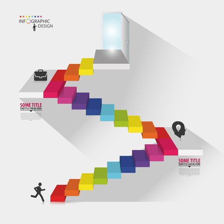 escalera: Diseño Infografía. Escalera con puertas abiertas. Ilustración vectorial Vectores