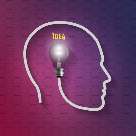 telepathy: human head with bulb. Thinking a new idea on hexagonal background
