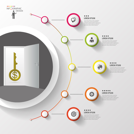 option key: Infographic. Key. Colorful circle with icons. Vector