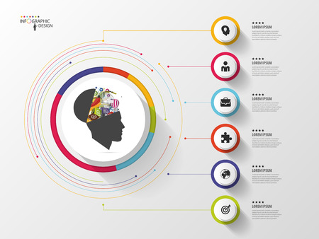Infographic. Creative head. Colorful circle with icons. Vector