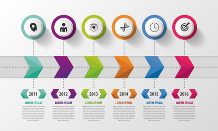 Modern Timeline Infographic. Abstract Design Template. Vector Illustration. Vettoriali