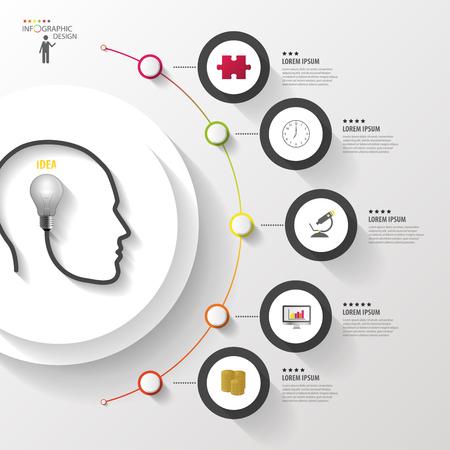 conocimiento: Infograf�a. La cabeza con el bulbo. C�rculo colorido moderno con iconos. Vector