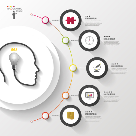 Infographics. Head with bulb. Modern colorful circle with icons. Vector Çizim