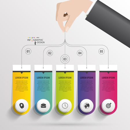 pendent: Infographic with banners on the grey background Illustration