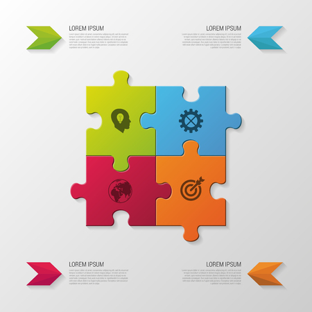 four objects: Puzzle piece. Modern infographics business concept. vector illustration Illustration
