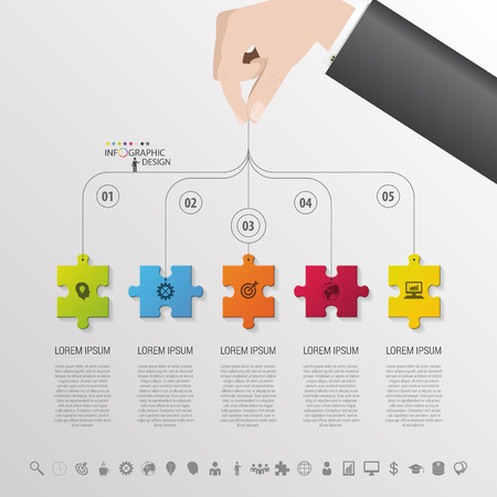 puzzle background: Infographic with puzzle piece on the grey background. Vector