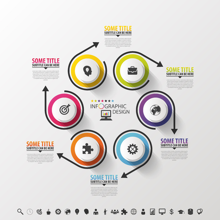 six objects: Infographic design circles on the grey background. Vector