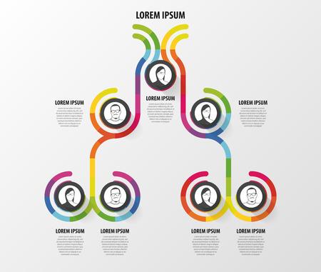 ORGANIGRAMMA infografica design. Infografica. Illustrazione vettoriale Archivio Fotografico - 45345088