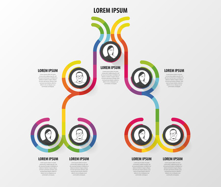 Organization chart infographics design. Infographics. Vector illustration