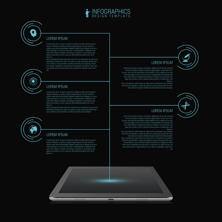 tablet vector: Business network timeline infographic template. Futuristic. Tablet. Vector Illustration