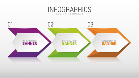 three pointer: Modern infographic design template. Three steps. Vector
