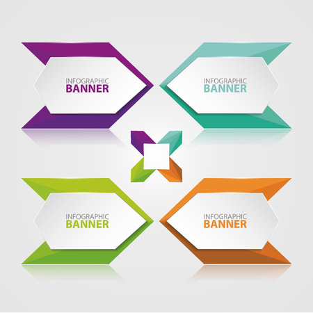 origami paper: Origami vector banner. White banner wrapped with colored paper