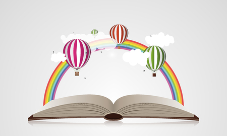 adventure story: Creative concept - Open Book With Air Balloons. Vector illustration