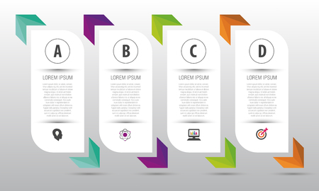 Infographic design template. Business concept with 4 options. Vector Vettoriali