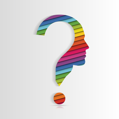 human face: Human face with question mark. Vector illustration