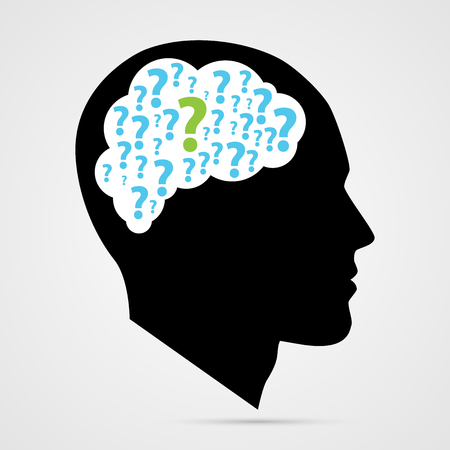 unanswered: human head with question marks. Vector illustration Illustration