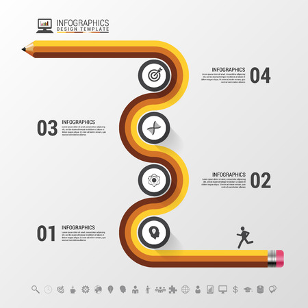 Abstract colorful business path. Timeline infographic template. Vector illustration Çizim