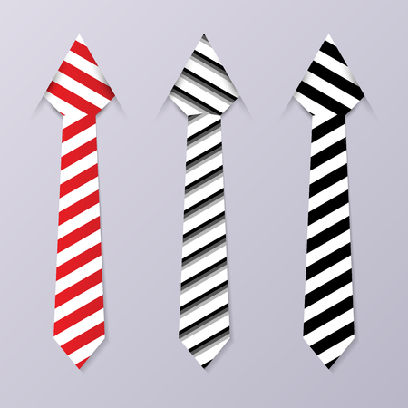 ironed: Set of stripped business ties. Modern design. Vector illustration