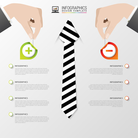 cons: Business infographic template. Modern design. Pros and cons. Vector illustration