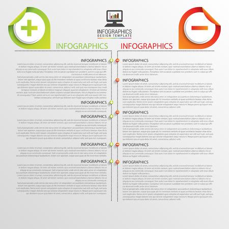 positives: Infographic design template. Business concept. Timeline. Vector illustration Illustration