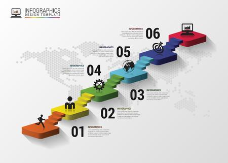 Résumé escaliers 3d infographie ou modèle chronologie. Vector illustration Banque d'images - 46525988
