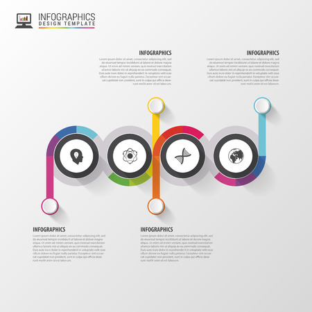 cronologia: Timeline Infographics template. Modern design template. Vector illustration