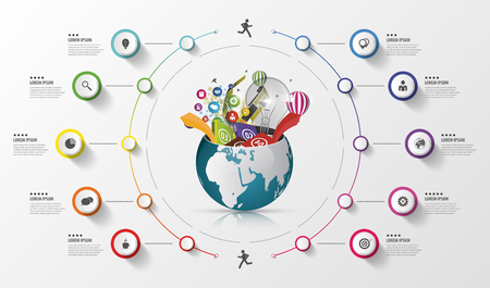 global: Modern infographics global template. Colorful concept. Vector illustration