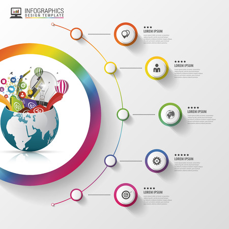 Infographic design template. Creative world. Colorful circle with icons. Vector illustration 向量圖像