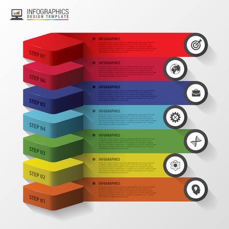 Résumé escaliers 3d infographie ou modèle chronologie. Vector illustration Banque d'images - 46645480