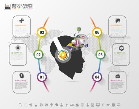 Infografica. mente creativa con le cuffie. Modello moderno colorato con le icone. illustrazione di vettore Archivio Fotografico - 46645487