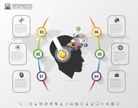 Infographics. Creative mind with headphones. Modern colorful template with icons. Vector illustration
